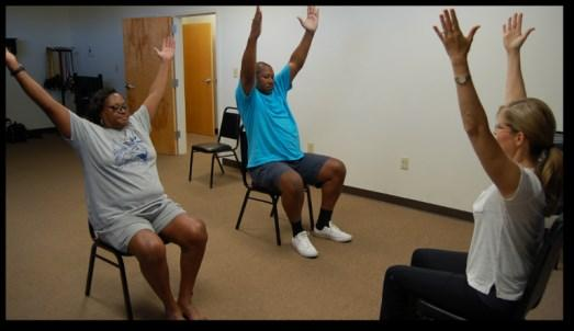 Their progress makes our hearts sing. Caption: Paul and Belvia Johnson in Yoga Therapy with instructor Elyse Overdyk. Physician referred trainer, Mel O'Keefe I think the program is excellent!