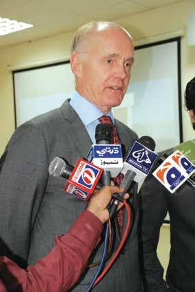 Ambassador of Belgium in Pakistan, here seen in discussion with Prof.