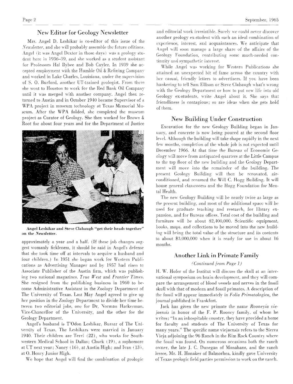 Page 2 September, 1965 New Editor for GeologyNewsletter Mrs. Angel D. Leshikar is co-editor of this issue of the Newsletter, andshe willprobably assemble the future editions.