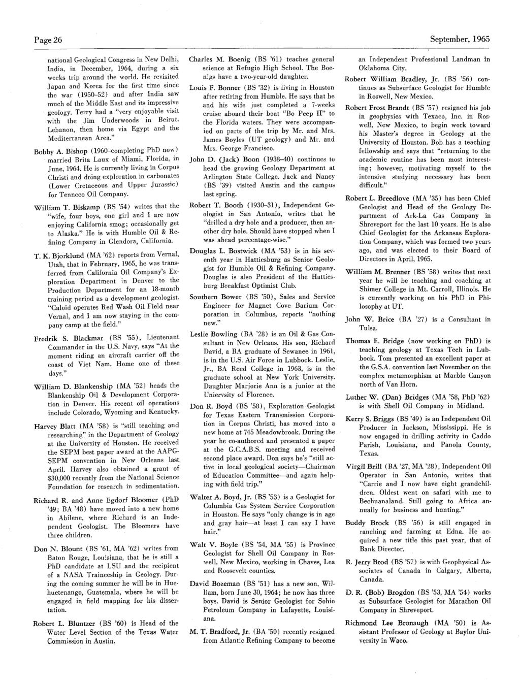 Page 26 September,1965 national GeologicalCongress innew Delhi, India, in December, 1964, during a six weeks trip around the world.