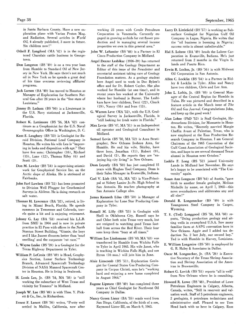 Page 38 September,1965 in Santa Barbara County. Have a new exploration plane with Varian Proton Mag. and Radiation. Several articles in World Oil, 4 already published, 3 more in future.