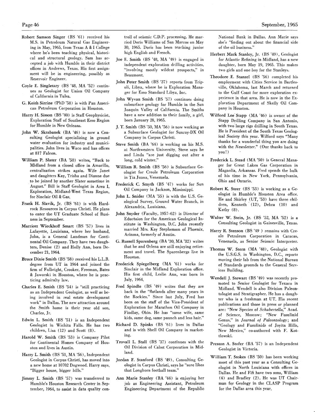 Page 46 Robert Samson Singer (BS '61) received his M.S. in Petroleum Natural Gas EngineeringinMay, 1965, from Texas A &ICollege where he's been teaching physical, historical and structural geology.