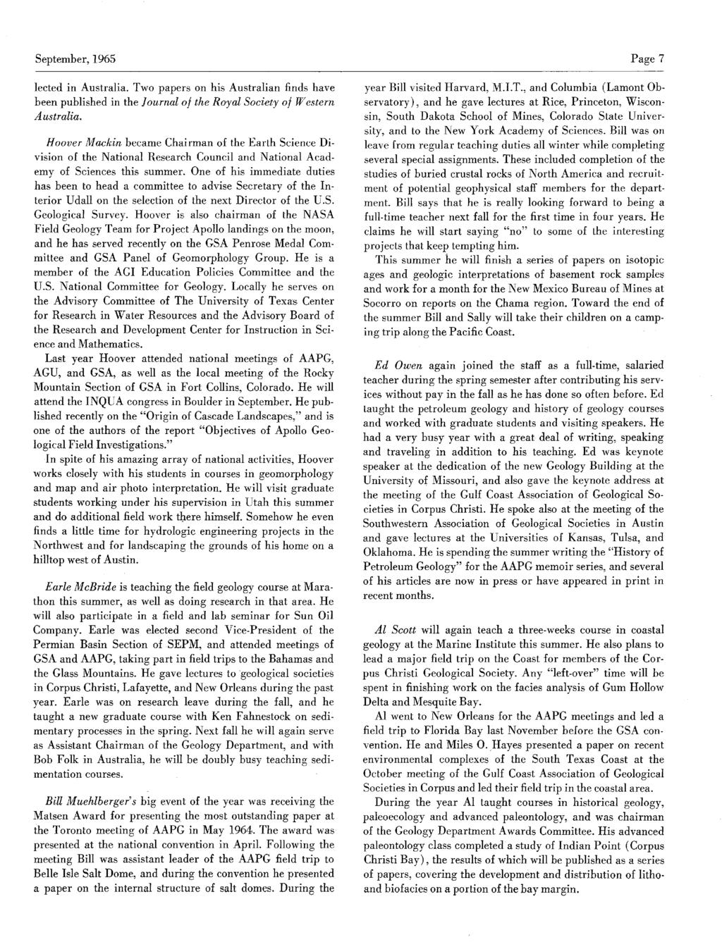 September,1965 Page 7 lected in Australia. Two papers on his Australian finds have been published in the Journal of theroyalsocietyof Western Australia.