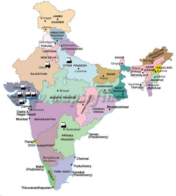 Geographical Spread of the Tile Production Capacity 21.50 MSM (Gailpur, Rajasthan) 9.80 MSM (Sikandrabad, U P) 4.60 MSM (JV with Soriso, Morbi Gujarat) 5.70 MSM (JV with Cosa, Morbi, Gujarat) 10.