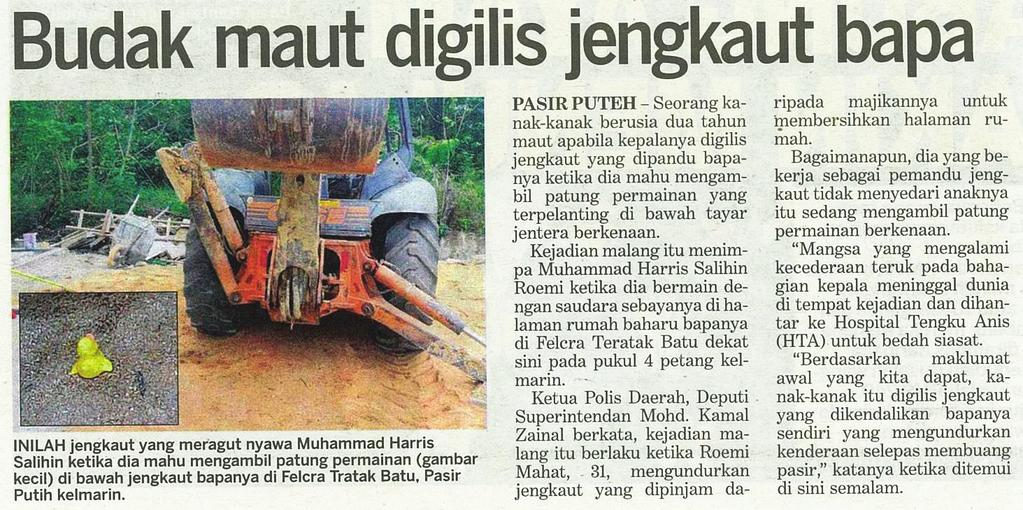 OSH In the news News Headline Budak Maut digilis jengkaut