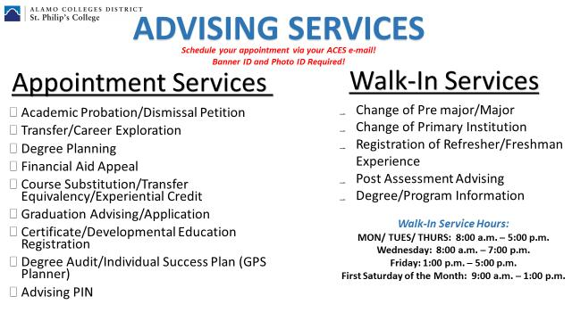 Academic and Career Advising Services For more information, contact Christina Cortez @ 210-486-2894.