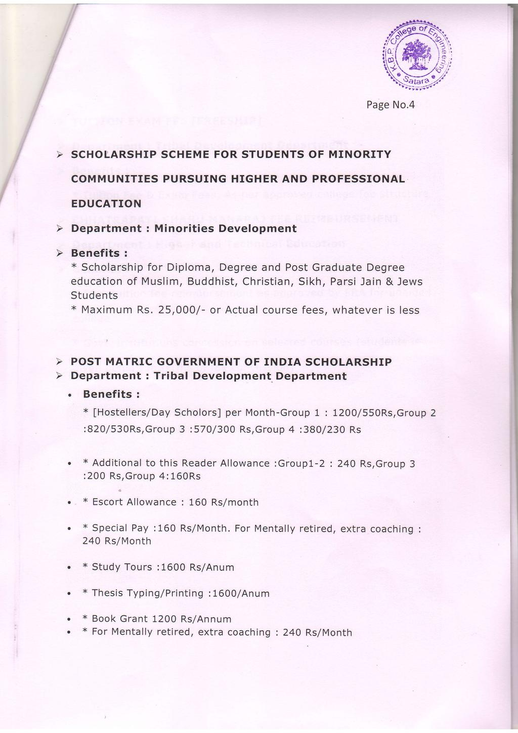 Page SCHOLARSHP SCHEME FOR STUDENTS OF MNORTY COMMUNTES PURSUNG HGHER AND PROFESSONAL EDUCATON Department : Minorities Development x Scholarship for Diploma, Degree and Post Graduate Degree education