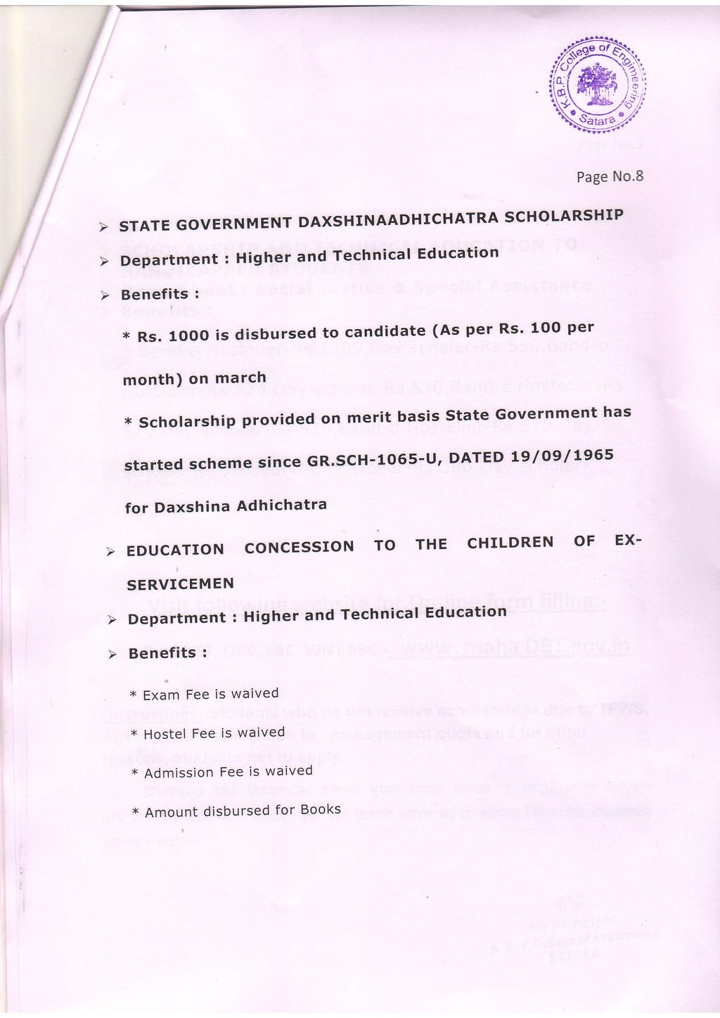 Page No.8 STATE GOVERNMENT Department : Higher DAXSHNAADHCHATRA and Tech'nical Education SCHOLARSHP ( * Rs.