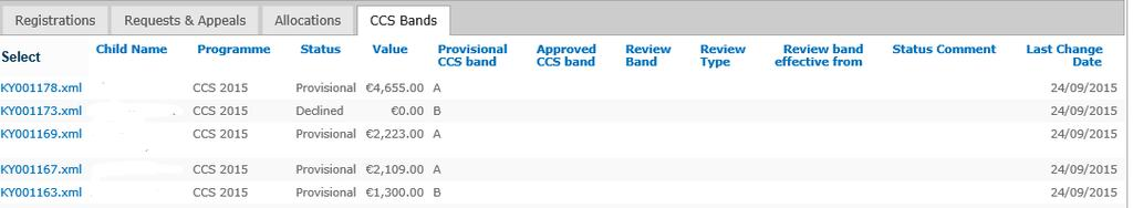 4. CCS Bands: This tab contains details pertaining to CCS registration details: Field Name Description Registration ID Field contains the Portal ID to which the request is associated with Child Name