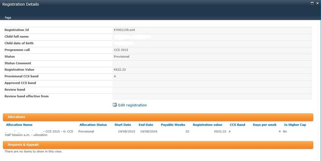 Funded. CCS Not Funded registrations will appear on the Dashboard as shown below: 4.