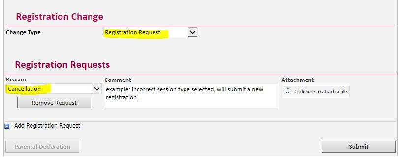 box Click Submit If cancelling with intention to re-submit: Submit a New