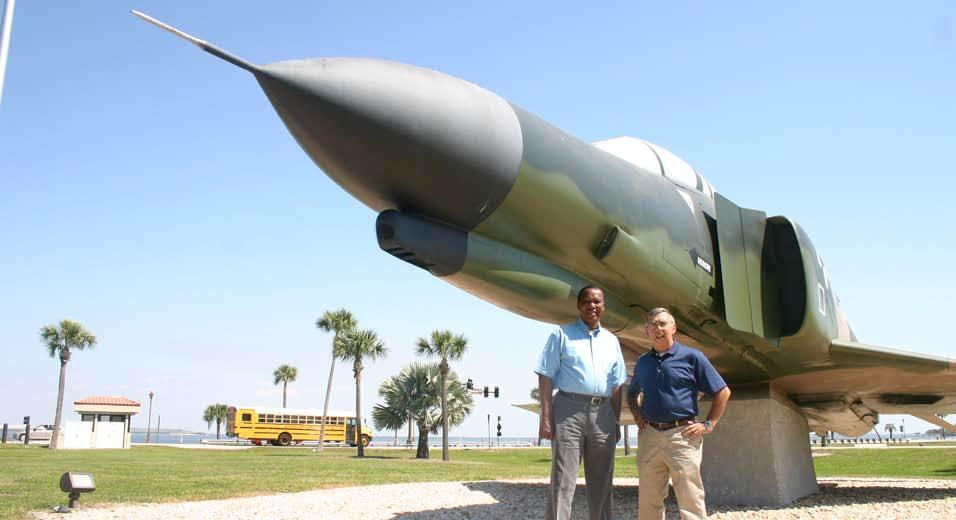Frank P their da Lester O Brien, left, Frank Perella and the F-4E fighter in Memorial Park that both men flew when it was a trainer at MacDill.