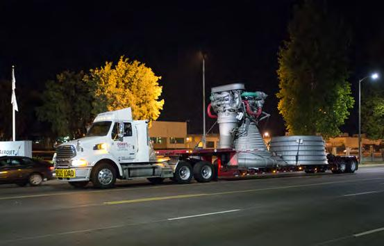14 INTEGRATION F-1 Moving Day An historic F-1 engine had stood outside the Canoga Avenue facility as a symbol of the company s contribution to America s human spaceflight and