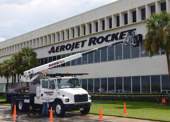 3, the disassembled 19-foot tall, 18,400-pound engine was moved to a pedestal outside the Aerojet Rocketdyne facility on De Soto Avenue as part of the company s consolidation