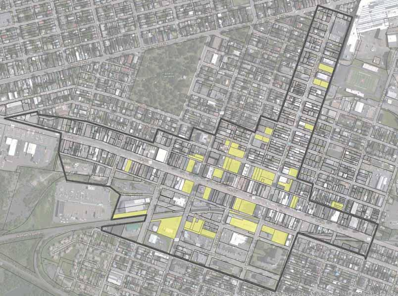 Priority Improvement Projects 3. Rebrand and market the core of the downtown as an Arts, Innovation and Education District (see area shaded in blue) as priority projects are implemented.
