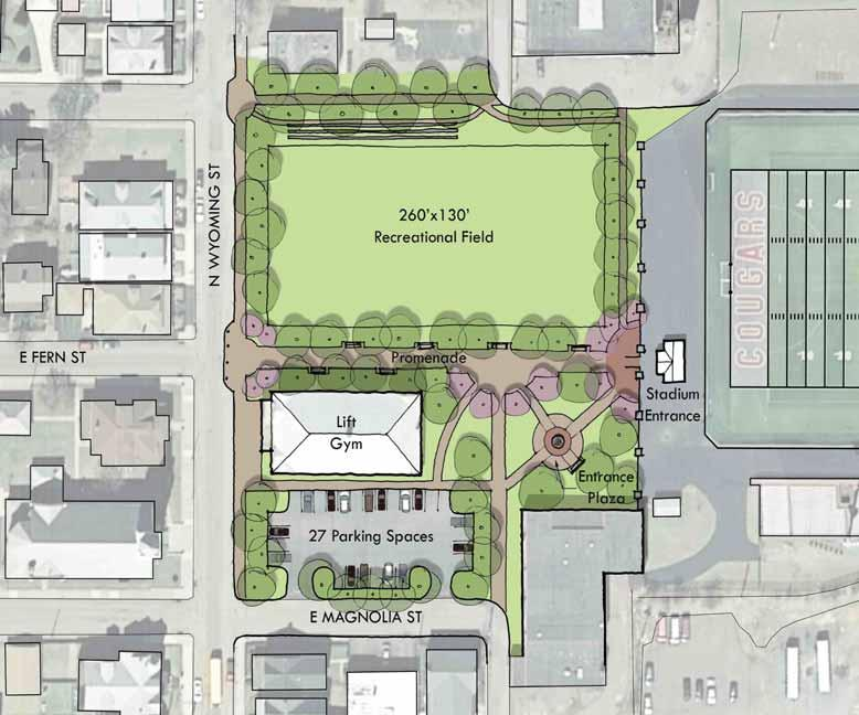 Preliminary Enhancement Options Wyoming Street Field Should the former Sports Academy building not be reasonably salvageable, there is then a broader potential for activating the walkway to the
