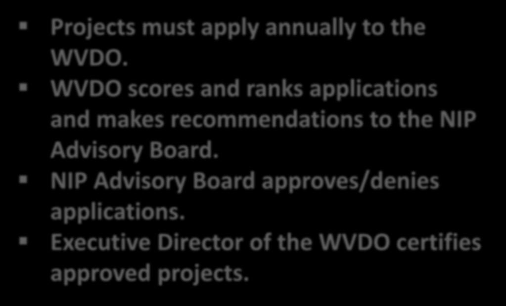 How It Works Projects must apply annually to the WVDO.