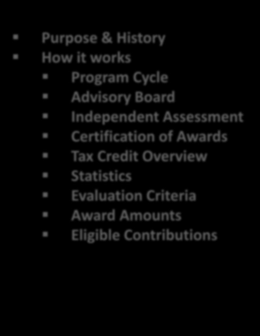 Certification of Awards Tax Credit Overview