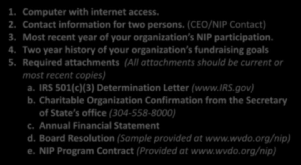 Items Needed to Complete the Application 1. Computer with internet access. 2. Contact information for two persons. (CEO/NIP Contact) 3. Most recent year of your organization s NIP participation. 4.