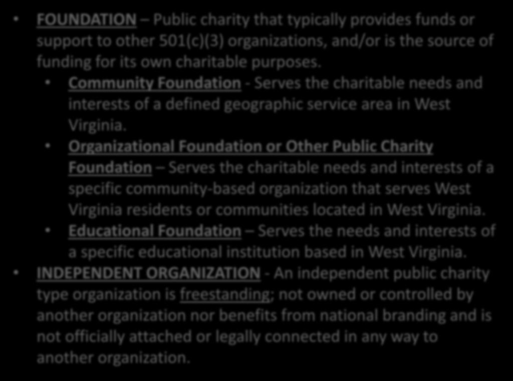 Organization Definitions FOUNDATION Public charity that typically provides funds or support to other 501(c)(3) organizations, and/or is the source of funding for its own charitable purposes.