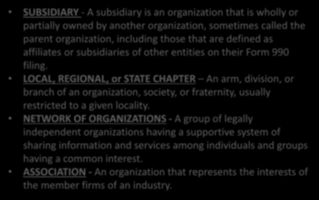 Organization Definitions Cont.