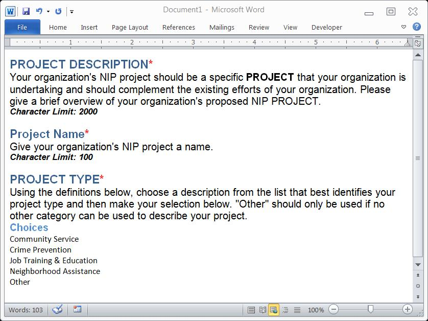 NIP Project Information We will publicize your