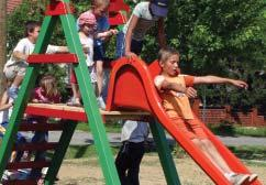 The townspeople brought a used metal jungle gym to the site in a wheelbarrow and the engineers anchored it in place and painted it red, white and blue colors shared in both Croatia s and America s