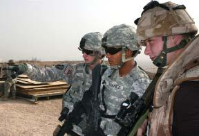 group of Coalition Forces Soldiers provides far outside the base perimeter. One of the Soldiers in this group is Pfc.