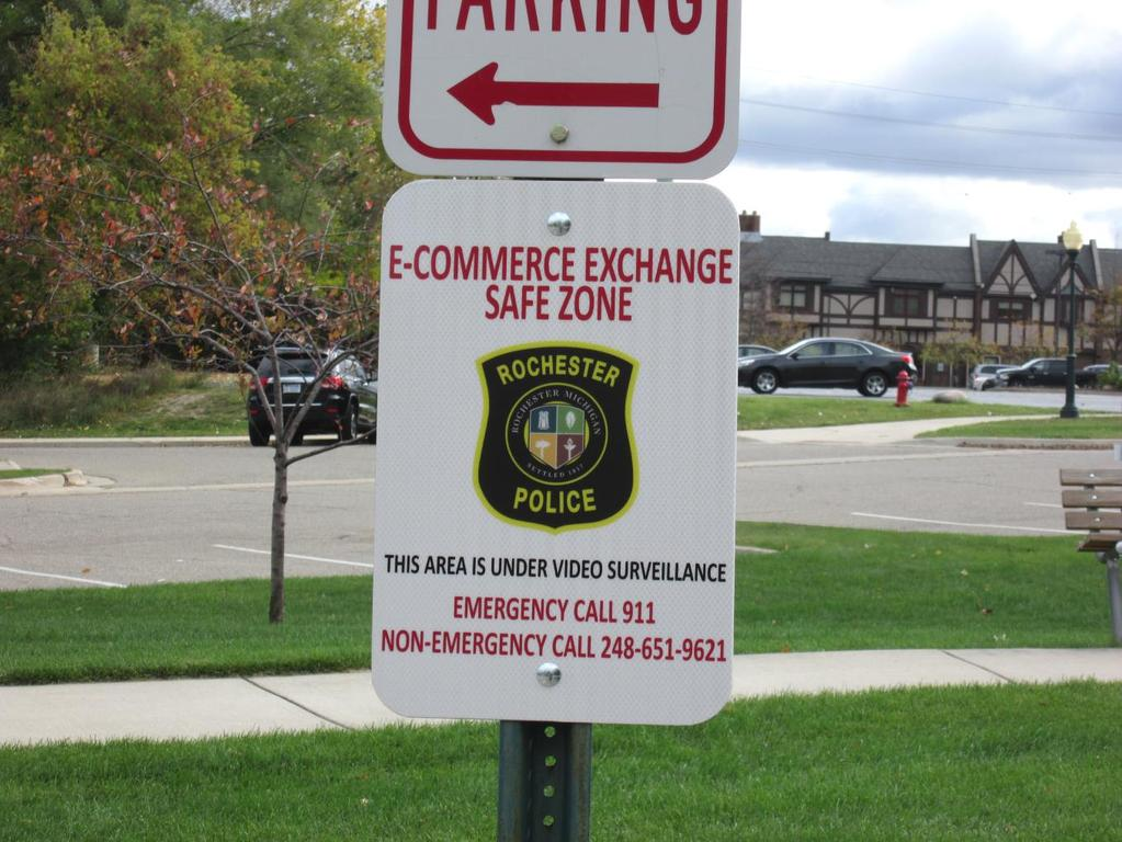 The Police Department instituted an E-Commerce Exchange Safety Zone in front of the police station. This is a great spot to complete E-Bay or Craig s list transactions.