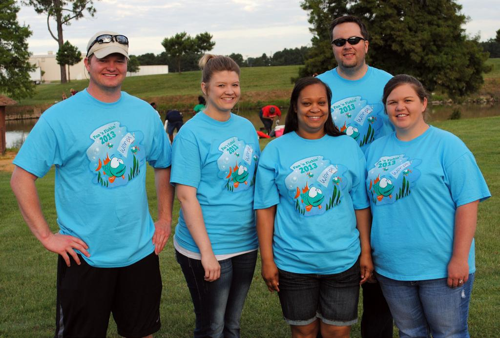 BANK VOLUNTEERS Arkansas County Bank volunteers at Fun N Fishin included Brent Atkins,