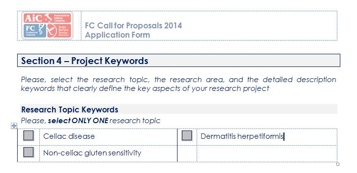 III. Section 4: Project Keywords The FC Call for Proposals 2014 has been launched for granting three-years Italian research projects focusing on three main research topics: celiac disease, dermatitis