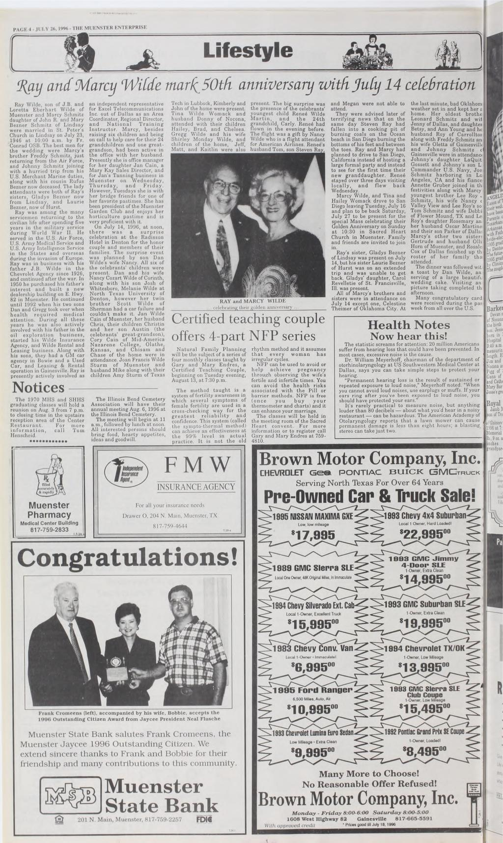 I PAGI 4 1 26,1996- THE MUENSTER ENTERPRISE Lifestyle Ray anc Marcy Wilde mark5oth anniversary with Yu& 14 celebration Ray Wilde, son of J.B.