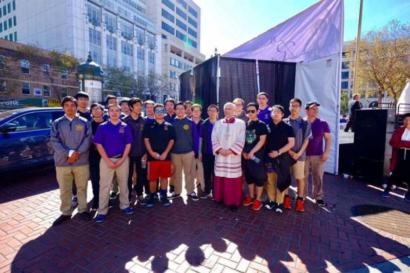 Rosary Rally San Francisco October 08, 2016 A group of students joined Archbishop Cordileone and thousands of faithful in