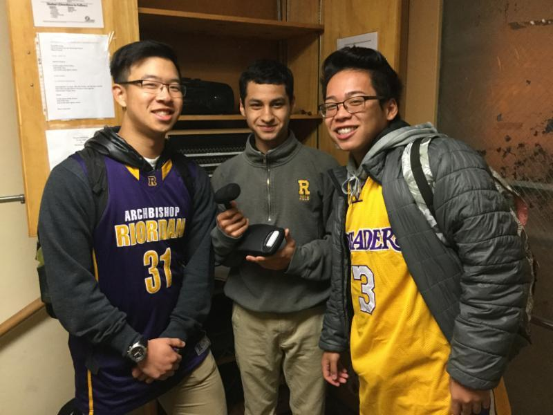 The morning team leads our community in prayer each day! L-r: Brendan Quock '17, Keven Munoz '18, and EJ Borja '17.
