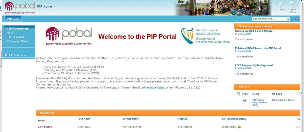 1. Navigating the PIP Portal Once logged-in, the PIP Homepage for the service will appear.
