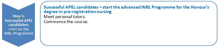 Step 5: successful applicants start the WBL Programme for the Honour s degree in preregistration nursing What will happen between being offered an unconditional place and the start of the WBL