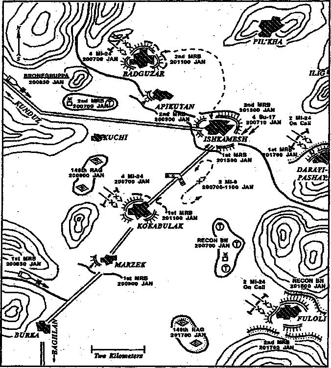 120 THE SOVIET-AFGHAN WAR Map 20. Sweeping Ishkamesh Badguzar with the mission of destroying weapons and ammunition caches.