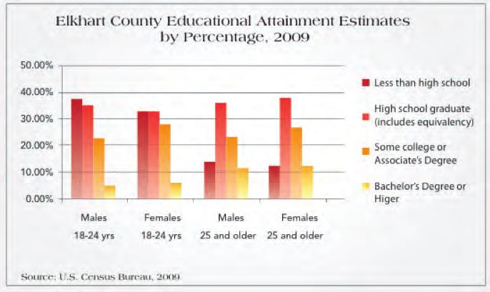 Report Analysis and Outcomes, Continued Education Although less than 14% of adults in Elkhart County do not have any high school