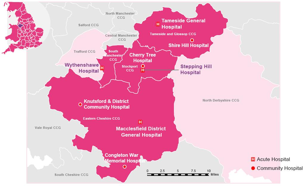 Figure Three: Access to hospital services across Eastern Cheshire and Greater Manchester At the end of 2012 we came together with Cheshire East Council and other partners to launch the Caring