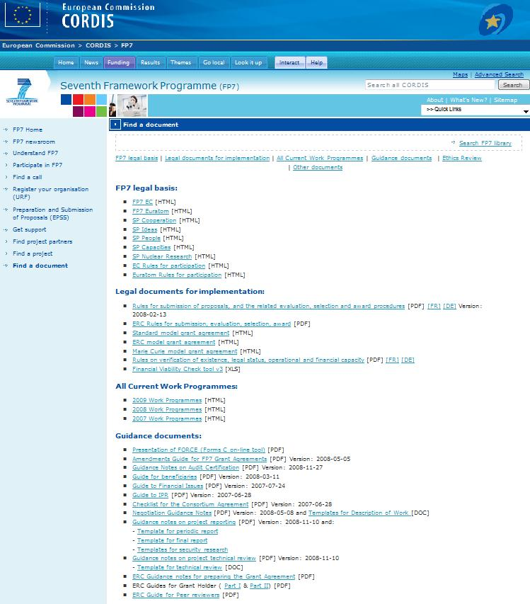 Web resources CORDIS Find a document is a comprehensive resource containing