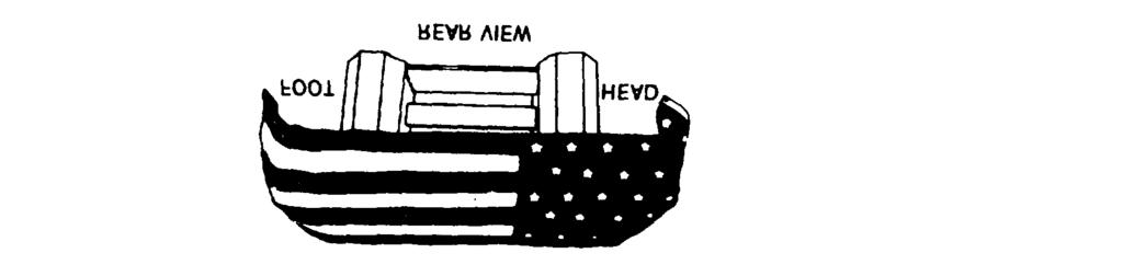 Figure 4-2. Correct method of displaying the flag with the casket. casket; however, nothing is ever to be placed atop a casket which is covered with the ensign of the United States.