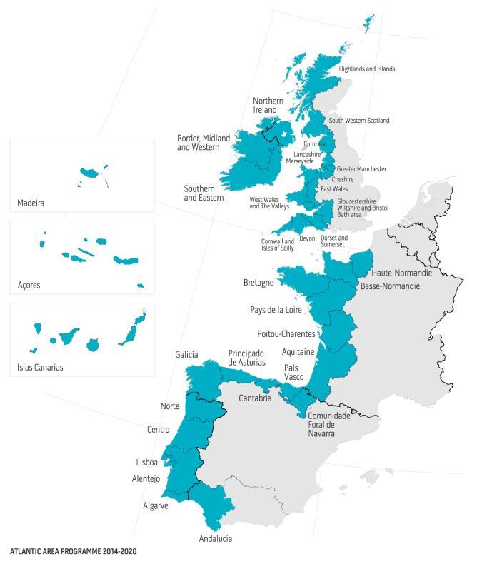 Where does the programme operates? INTERREG Atlantic Area covers the western part of Europe bordering the Atlantic Ocean.