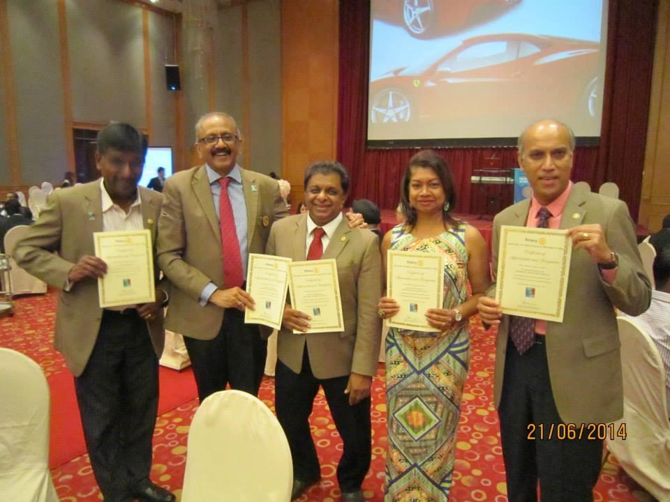 Rotary International Presidential Citation Achievement Rotary Clubs with Distinction: 1. Rotary Club of Bangsar 2. Rotary Club of Bandar Sungei Petani 3. Rotary Club of Bandar Sunway 4.
