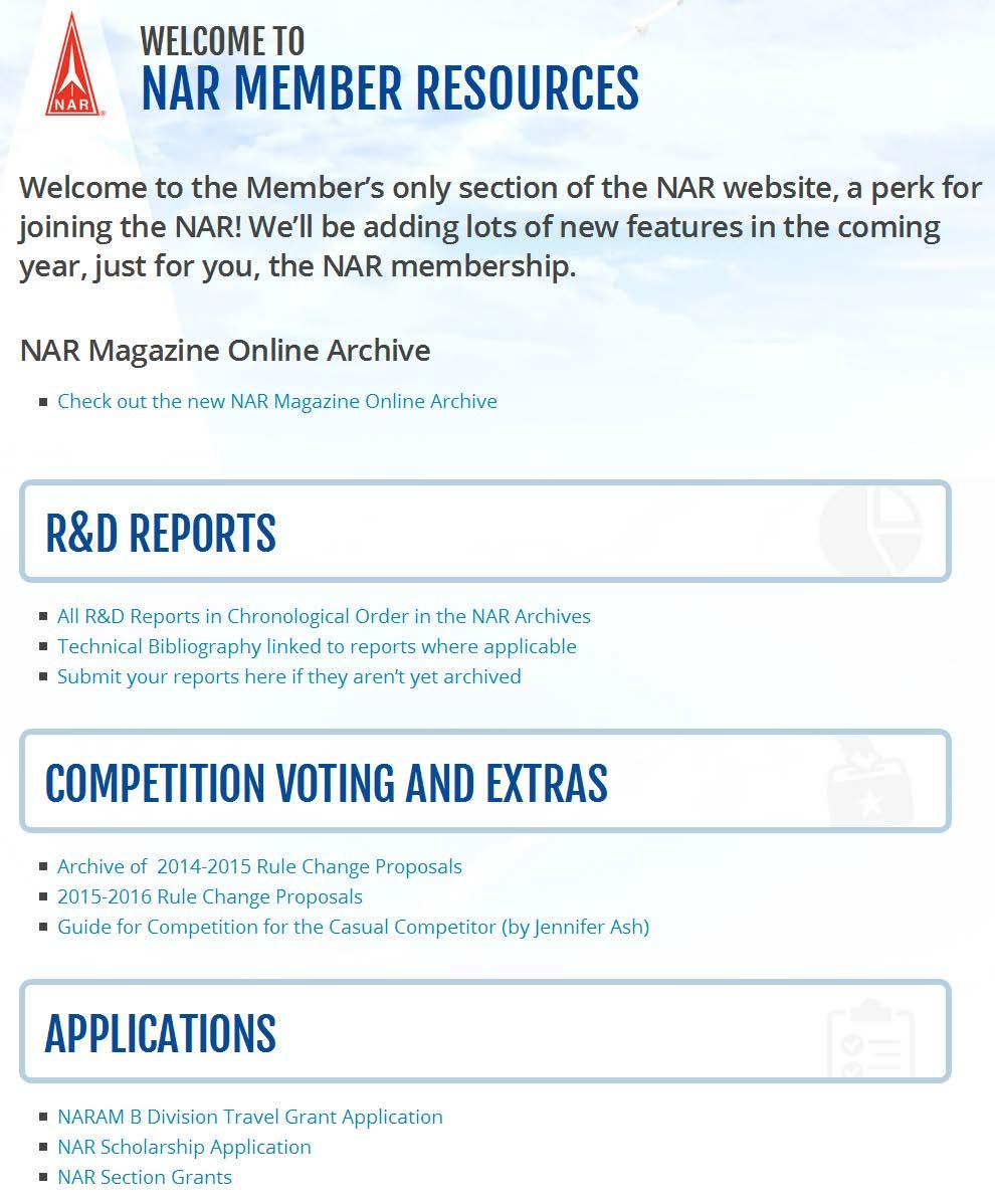NAR.org Continuing to build the platform National events web sites All R&D reports are now online in members-only section Competition Voting Applications for awards Past