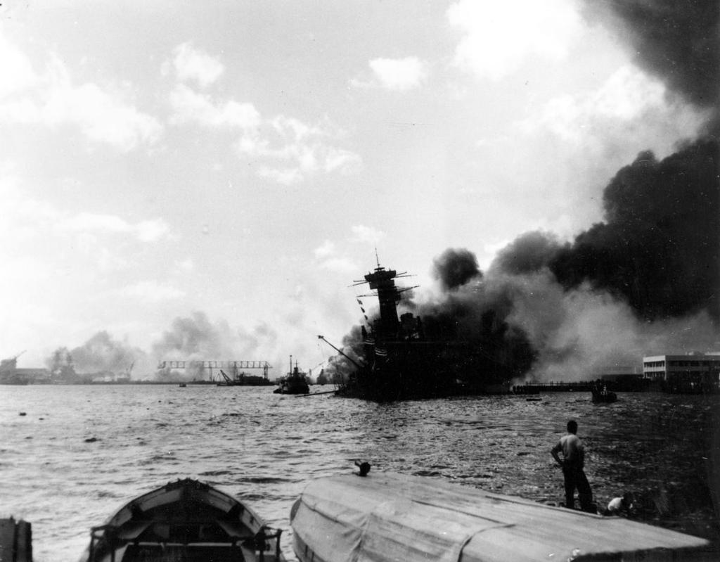 The USS California burns after being hit by a