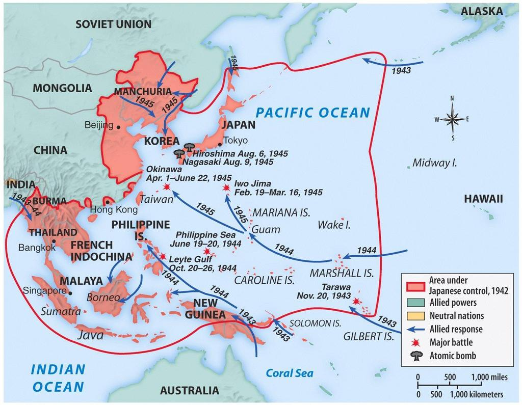 almost all of Europe Pacific Ocean Germany pressed into Russia Axis armies controlled