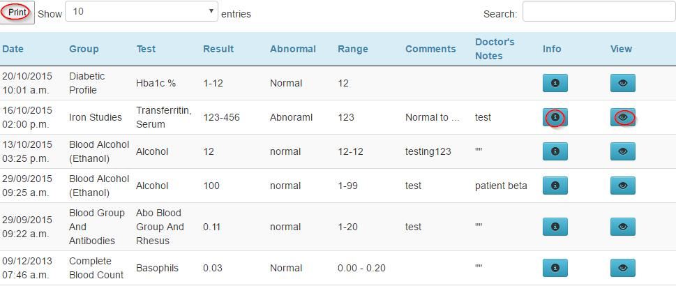 Lab Results View and track your laboratory results. These test results have already been viewed by your doctor. Note that not all results marked out of the normal range require action.
