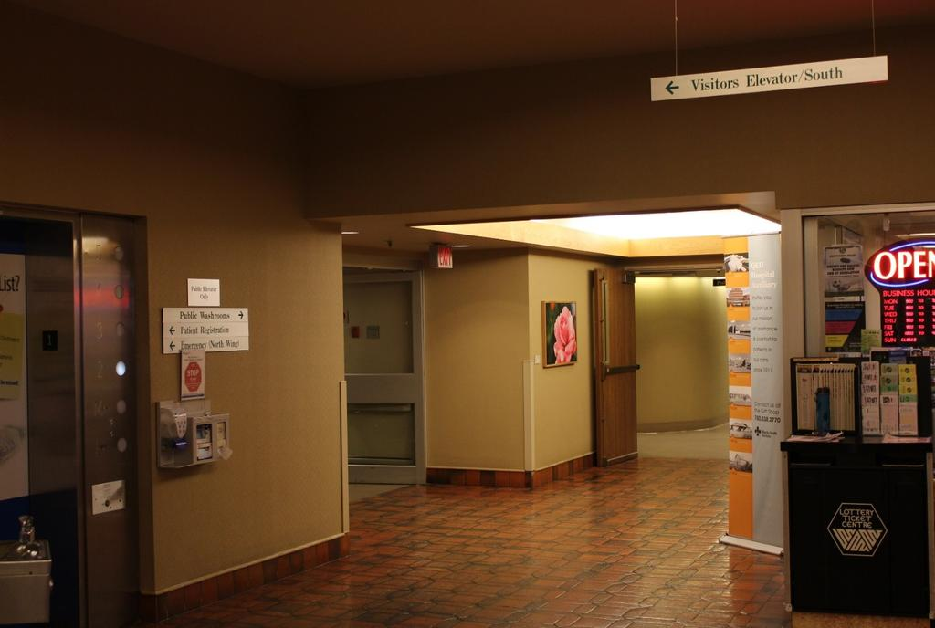 Elevators QEII has north and south visitor elevators OB triage,