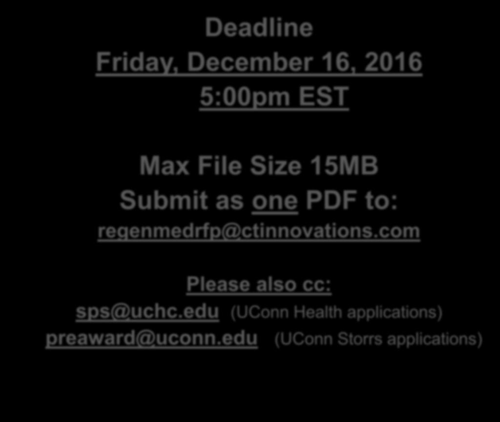 Deadline Friday, December 16, 2016 5:00pm EST Max File Size 15MB Submit as one PDF to: