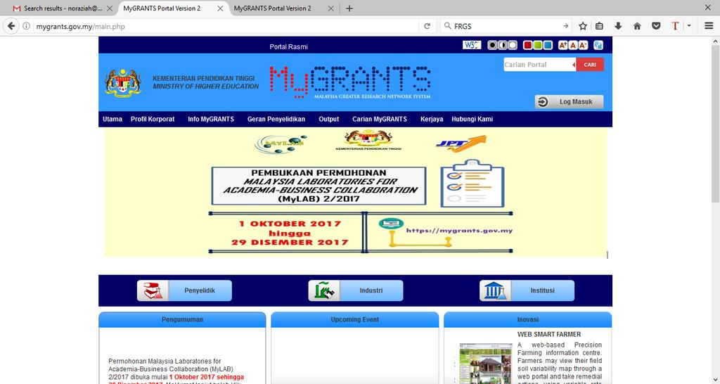 Portal MyGRANTS